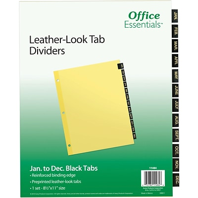 Office Essentials Black Leather Pre-Printed Tab Dividers, Jan-Dec Tab, 1 Set (11484)