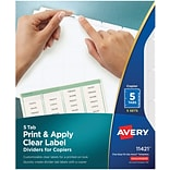 Avery® Clear Label Copier Indexes, 5-Tab