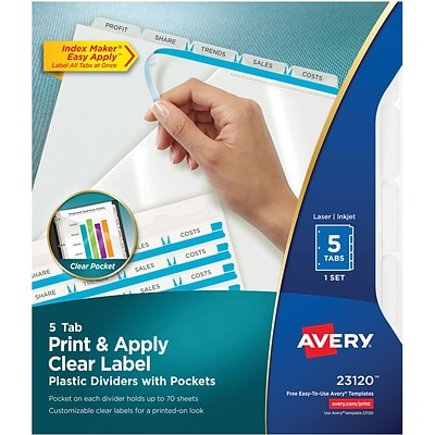 Avery® Index Maker® Plastic Label Divider, Clear, 8 1/2 x 11, 5-Tab Set (23120)