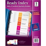 Avery Ready Index Table of Contents Quarterly Dividers, 5-Tab Set (13153)