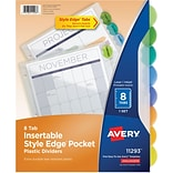 Avery Style Edge Insertable Dividers With Pocket, Multicolor, 8-Tab, 11-1/4 x 9-1/4 (11293)