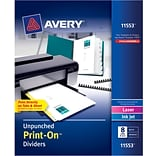 Avery® Unpunched Print-On(TM) Dividers 11553, White, 8 Tabs, 5 Sets (11553)