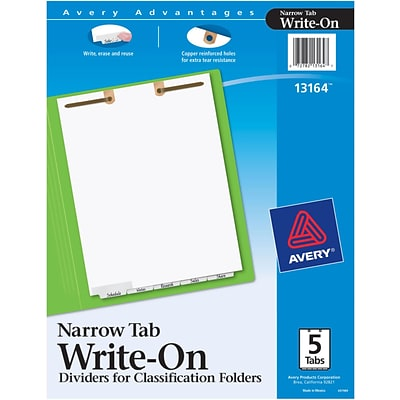 Avery® Write-On Dividers for Classification Folders, Narrow Bottom Tabs, 5-Tab Set (13164)
