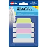 Avery® Margin Tab Ultra Tabs™, Pastels, 2-1/2x1, 24 Pack Repositionable, Two-Side Writable Tabs