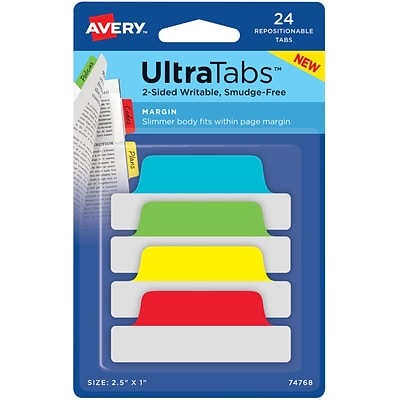 Avery® Margin Tab Ultra Tabs™, Primary, 2-1/2x1, 24 Pack Repositionable, Two-Side Writable Tabs