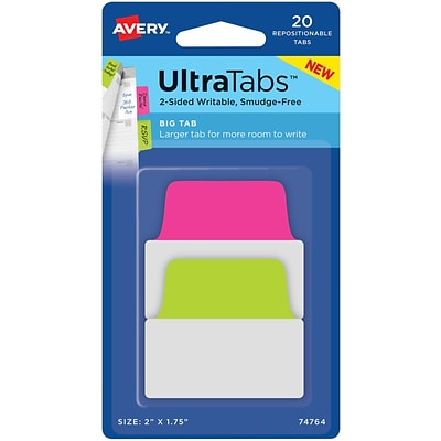 Avery® Big Tab Ultra Tabs™, Neon (Pink, Green), 2 x 1-3/4, Pack of 20 Repositionable, Two-Side Writable Tabs