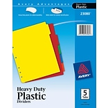 Avery® Plastic 5-Tab Colored Dividers