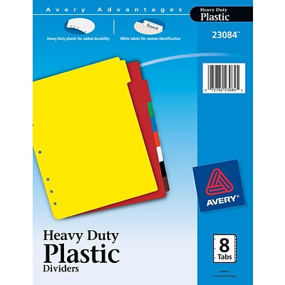 Avery Heavy Duty Plastic Dividers with White Tab Labels, 8-Tab Set (23084)