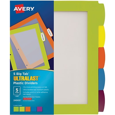 Avery Ultralast Big Tab Plastic Dividers, 5 Multicolor Tabs, 1 Set (24900)