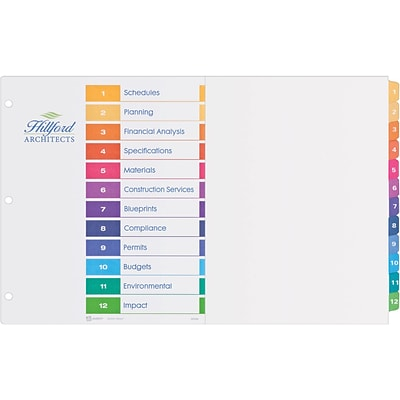 Avery® Ready Index® Table of Contents Dividers, 11 x 17, 12-Tab Set