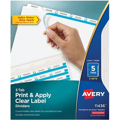 Avery® Index Maker® Easy Apply™ Clear-Label Dividers, White, 5 Tabs, 5 Sets/Pack