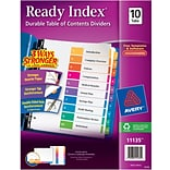 Avery® 10-Tab Ready Index® Multicolor Table of Contents Dividers, 1 Set/Pack