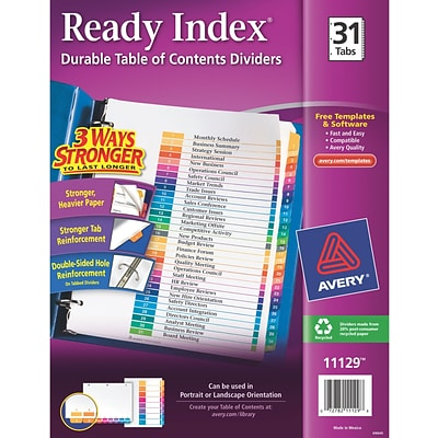 Avery Ready Index Table of Contents Monthly Tab Dividers, 1-31, Multicolor (1129)