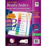 Avery Extra-Wide Table of Contents Tab Dividers, Multicolor, 1-10