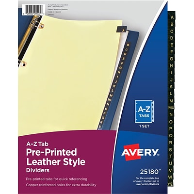 Avery® Black Leather Tab Dividers, A-Z Tabs, Buff, Copper Reinforced, 8 1/2 x 11, 1/St