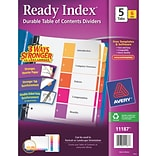 Avery® 5-Tab Ready Index® Multicolor Table of Contents Dividers, 6 Sets/Pack (11187)