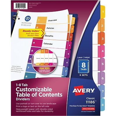 Avery 8 Tab Ready Index Multicolor Table Of Contents Dividers 6