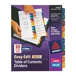 Avery® Ready Index® Easy-Edit Table of Contents Dividers, 10-Tab, Multicolor, 8 1/2 x 11, 6 Sets/P