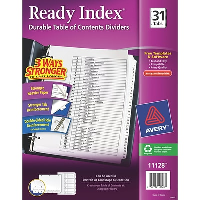 Avery® Ready Index® Table of Contents Dividers for Laser/Inkjet Printers, 1-31, Black & White