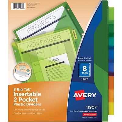 avery big tab two pocket insertable divider plastic 11 x 8 12