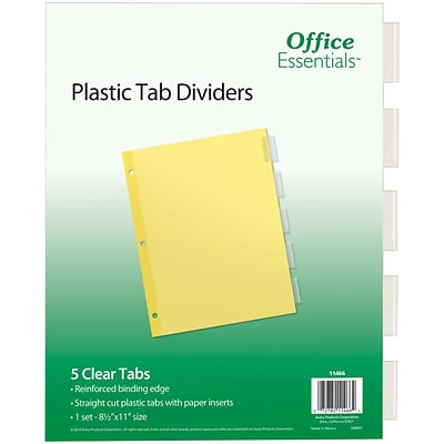 Office Essentials Insertable Tab Dividers, Buff Paper, 5 Clear Tabs, 1 Set (11466)