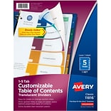 Avery® Ready Index® Translucent Table of Contents Dividers, 5-Tab