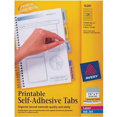 Avery 1-1/4 Assorted Color Printable Self-Adhesive Tabs