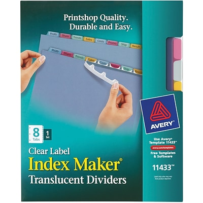 Avery® Index Maker® Translucent Clear Label Dividers, 8 Tabs, Multicolor