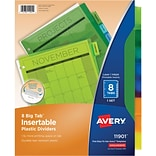 Avery Big Tab Insertable Plastic Dividers 8, Multicolor Tabs, 1 Set (11901)