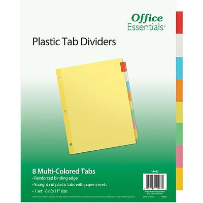 Office Essentials Insertable Tab Dividers, Buff Paper, 8 Multicolor Tabs, 1 Set (11467)