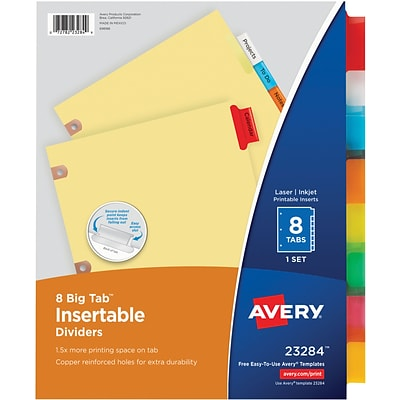 Avery® Worksaver Insertable Big Tab Dividers, 8 Tabs