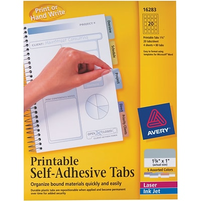 Avery® 1-3/4 Assorted Color Printable Self-Adhesive Tabs
