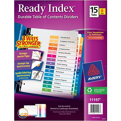 Avery® Ready Index®Table of Contents Dividers for Laser/Inkjet Printers, 15-Tab, Multicolor