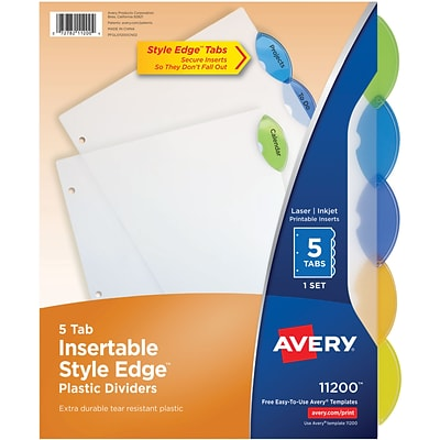 Avery® Style Edge™ Insertable Plastic Dividers, 5-Tab