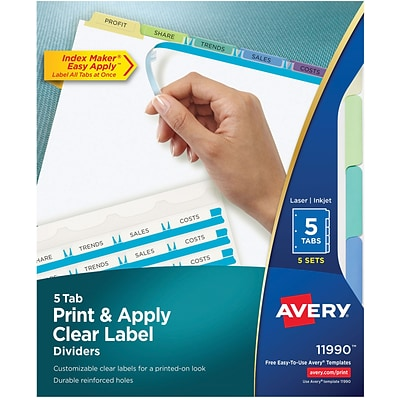 Avery Print & Apply Index Maker Dividers, Contemporary Color, 5-Tabs, 5 Sets (11990)