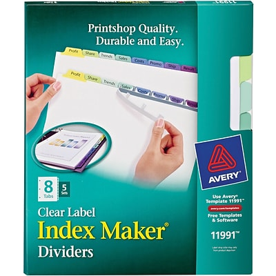 Avery Print & Apply Index Maker Dividers, Contemporary Colors, 8-Tabs, 5 Sets (11991)