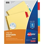 Avery Big Tab Insertable Dividers, Buff Paper, 5 Multicolor Tabs, Gold-Reinforced Edge, 1 Set (11109