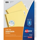 Avery Big Tab Insertable Dividers, Buff Paper, 5 Clear Tabs, Gold-Reinforced Edge, 1 Set (11110)