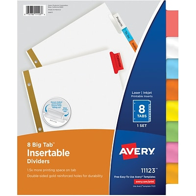Avery Big Tab Insertable Dividers, 8 Multicolor Tabs, Gold-Reinforced Edge, 1 Set (11123)