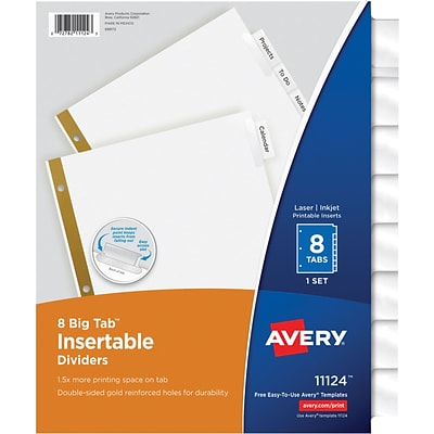 Avery Big Tab Insertable Dividers, 8 Clear Tabs, Gold-Reinforced Edge, 1 Set (11124)
