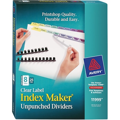 Avery Print & Apply Index Maker Unpunched Plastic Dividers, Contemporary Colors, 8-Tabs, 25 Sets (11999)