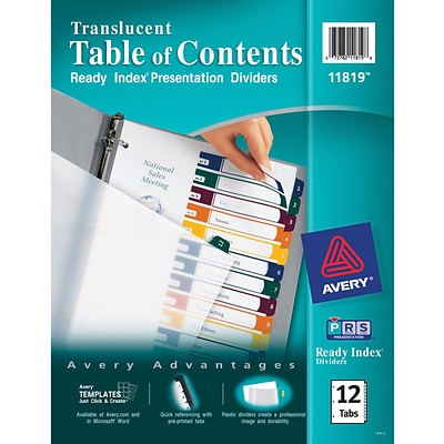 Avery® Ready Index® Plastic Table of Contents Dividers, 1-12 Tab, Multicolor, 8 1/2 x 11, 1/St