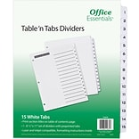 Office Essentials® Table N Tabs Dividers, 1-15 Tab, White, 8 1/2 x 11, 1/St (AVE11674)