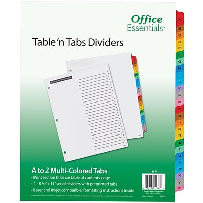 Office Essentials Table N Tabs Divider, Alphabet Multicolor Tabs, 1 Set (11677)