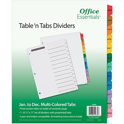 Avery Office Essentials Table n Tabs Monthly Tab Paper Dividers, 12 Tabs, Multicolor (11679)