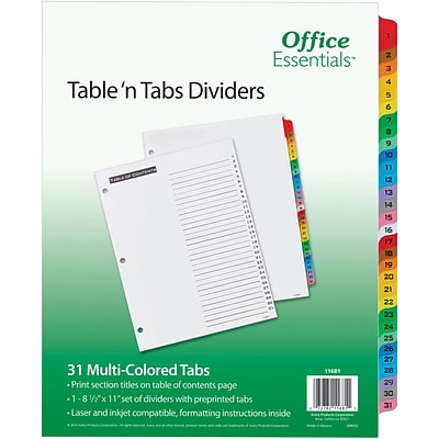Office Essentials® Table N Tabs Dividers, 1-31 Tab, Multicolor, 8 1/2 x 11, 1/St