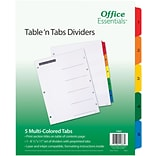 Office Essentials® Table N Tabs Dividers, 1-5 Tab, Multicolor, 8 1/2 x 11, 1/St (AVE11667)