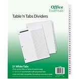 Office Essentials® Table N Tabs Dividers, 1-31 Tab, White, 8 1/2 x 11, 1/St (AVE11680)