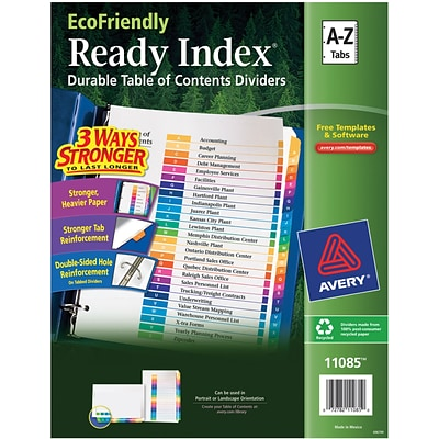Avery(R) EcoFriendly Ready Index(R) Table of Contents Dividers 11085, A-Z Tab Set