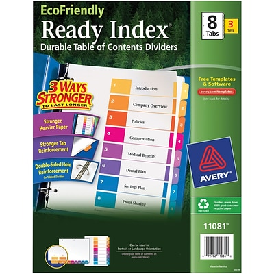 Avery® EcoFriendly Ready Index® Multicolor Table of Contents Dividers, 8-tab